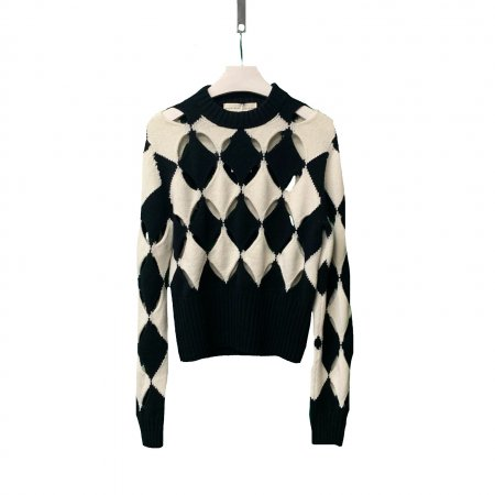 Black And Ecru Slashed Sweater