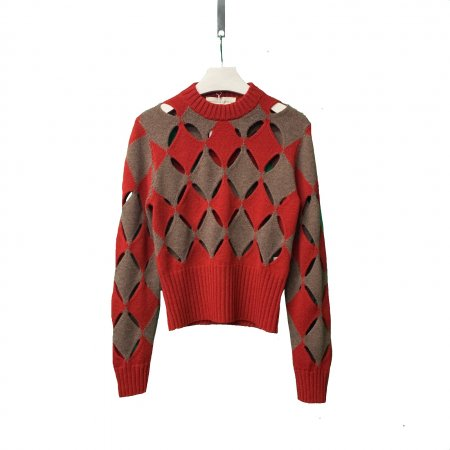 Red and Brown Slashed Sweater