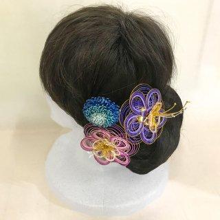 水引髪飾り -瑠璃セット-