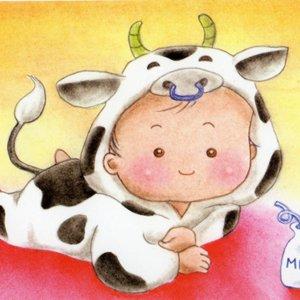 うし(牛)な赤ちゃん<br>(1シート・テキスト付)