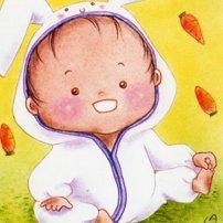 うさぎ(兎)な赤ちゃん<br>(1シート・テキスト付)