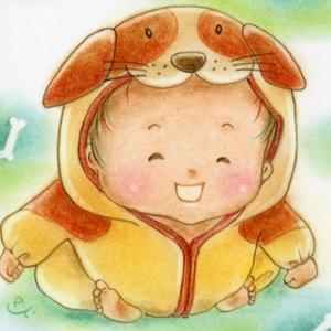 いぬ(戌)な赤ちゃん<br>(1シート・テキスト付き)