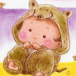 いのしし(猪)な赤ちゃん<br>(1シート・テキスト付き)