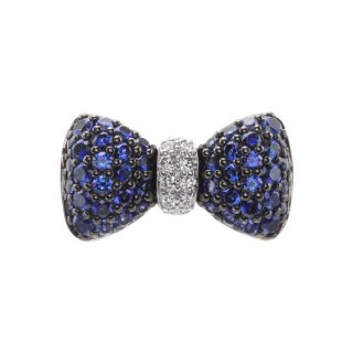 K18WG/ブルーサファイヤ/ダイヤモンド/ラペルピン BOW TIE lapel pin