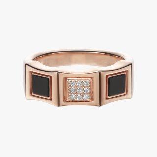 K18PG/ダイヤモンド/オニキス/リング DAY&NIGHT pinky ring  #15