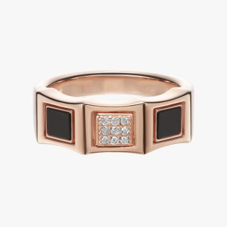 K18PG/ブラックダイヤ/ダイヤモンド/リング DAY&NIGHT pinky ring  #13