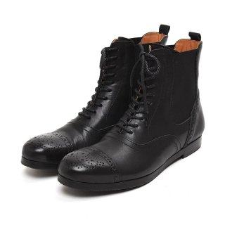 ムカヴァ MU970 サイドゴアブローグブーツ 【ブラック】 レディース