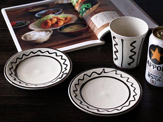 スリップ紋・五寸皿・丹波ブラック&ホワイト