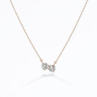 ラボ・グロウン ダイヤモンド<br>ネックレス / ピンクゴールド / 0.20カラット×2