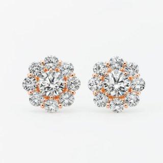 ラボ・グロウン ダイヤモンド<br>ピアス / ピンクゴールド / 中石 0.50カラット×2