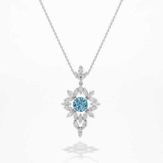 [お問合せ商品]C008 BLUEラボ・グロウン ダイヤモンド<br>ネックレス/プラチナ/2.15カラット