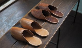 Linen stitch Leather slippers