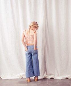 TOCOTO VINTAGE Denim Flower Pants