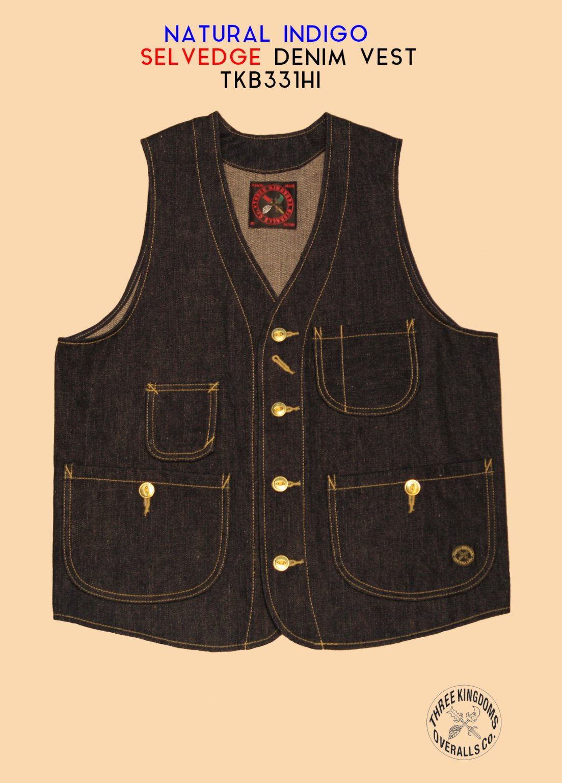 TKB331HI DENIM VEST<img class='new_mark_img2' src='https://img.shop-pro.jp/img/new/icons14.gif' style='border:none;display:inline;margin:0px;padding:0px;width:auto;' />