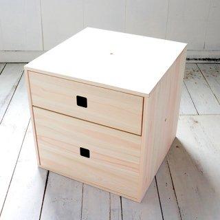 ひのきキューブボックス 無塗装 2段引き出し  連結型