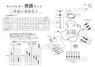 スーパーカブC100/C102用キャブレター燃調キット(縦キャブ用)