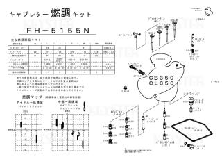 CB350/CL350用キャブレター燃調キット
