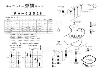 HAWKII/CB400T用キャブレター燃調キット