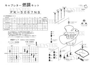 GPz400F/ZX400 (A2-A3) アウトサイドキャブ(#1/#4)用キャブレター燃調キット