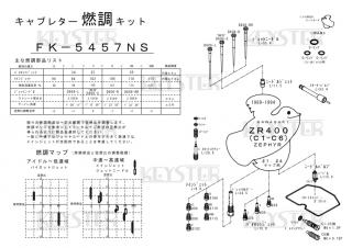 Zephyr(ゼファー)400/ZR400 (C1-C6) アウトサイドキャブ(#1/#4)用キャブレター燃調キット
