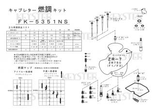 ZR-7/ZR750(F1/F3) アウトサイドキャブ(#1/#4)用キャブレター燃調キット