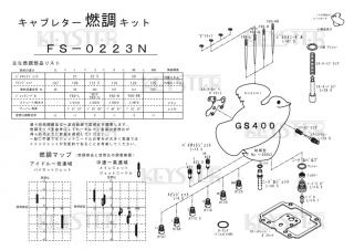 GS400(初期型, フレームNo.〜26653)黒レバー押しキャブ用キャブレター燃調キット
