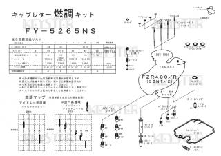 FZR400/R (3EN1-2), アウトサイドキャブ(#1/#4)用キャブレター燃調キット