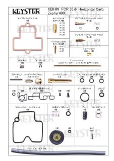 FCR 33φ ホリゾンタルキャブレター用燃調キット (Zephyr400,ゼファー400)