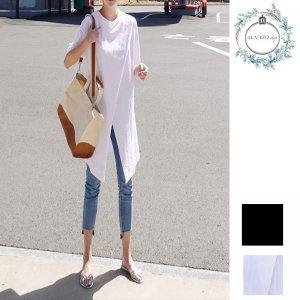 Tシャツ レディース 韓国 レディース 半袖 レディース 無地 ロング Tシャツ シンプル スリット カジュアル