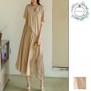 ワンピース ロング ロングワンピース 韓国 ワンピース 半袖 大きいサイズ リネン 韓国ファッション ゆったり Vネック