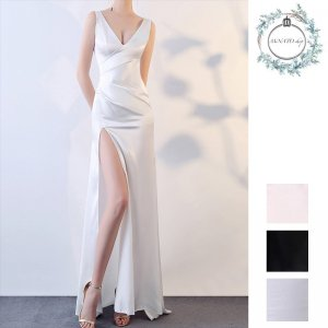 ドレス 結婚式 パーティー レディース ロング丈 シンプル Vネック タイト スリム サイドスリット 黒 白 ブラック ホワイト 20代 30代 40代