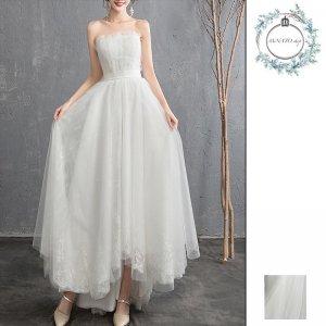 ドレス 結婚式 パーティー レディース ロング丈 大きいサイズ バックリボン エレガント レース チューブトップ 白 ホワイト 20代 30代 40代