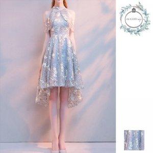 ドレス 結婚式 パーティー 二次会 披露宴 レディース 大きいサイズ ショート丈 フラワー 刺繍 肩見せ フィッシュテール 20代 30代 40代