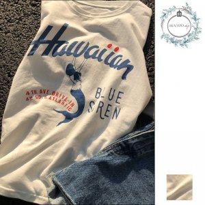 マーメイド プリント 半袖 白 Tシャツ ラウンドネック シャツ レディース 2020新しい春と夏 カートゥーンプリント トップ