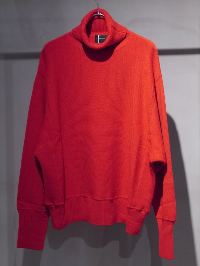 Turtle neck knit sweater-Lamb's wool / Red