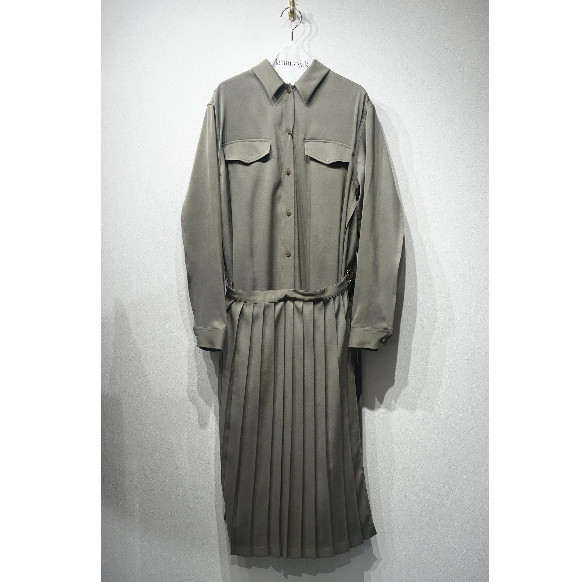 08sircus-PLEATED WRAP SHIRTS DRESS KHAKI