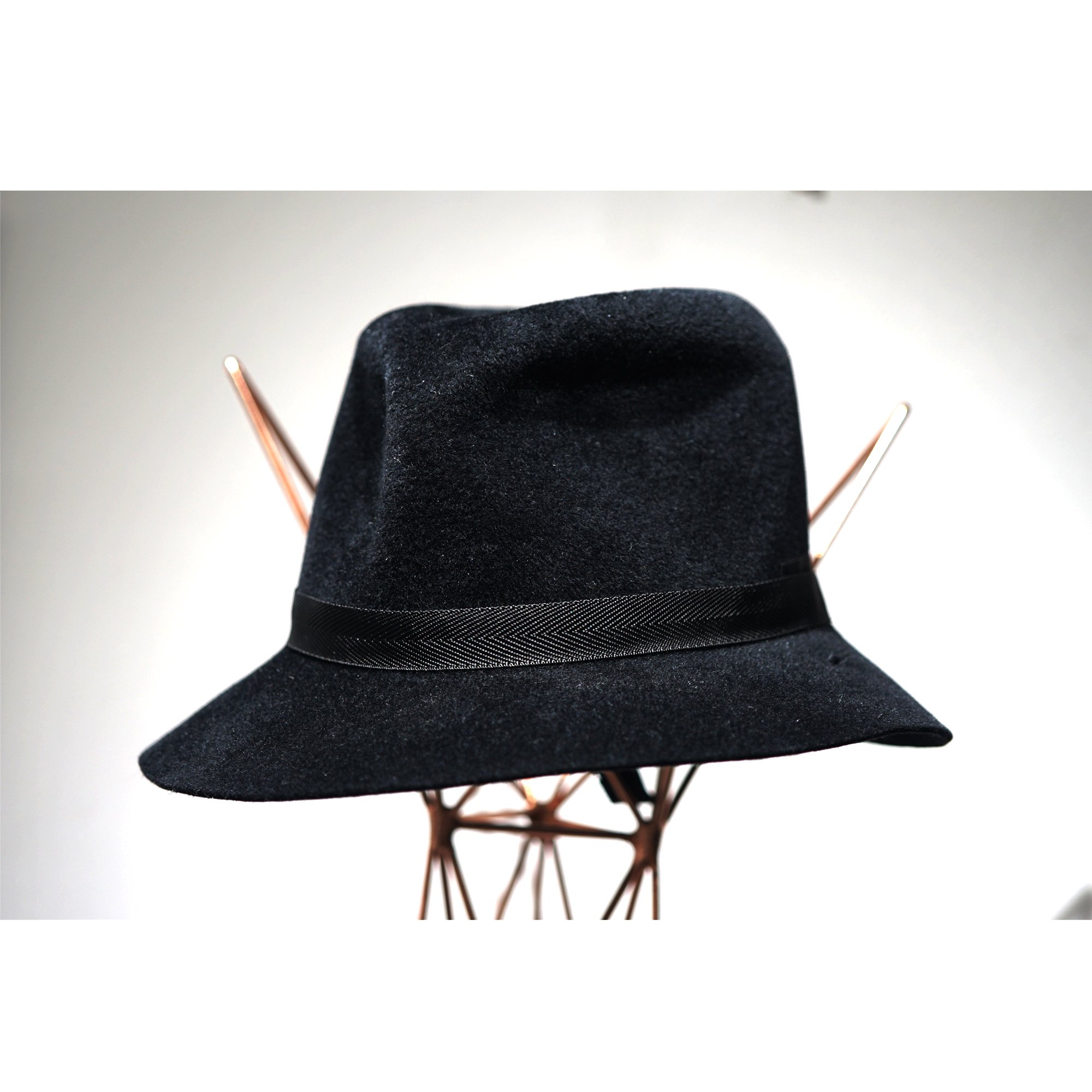 KIJIMA TAKAYUKI-ADJUSTABLE RABITT HAIR FELT HAT BLACK