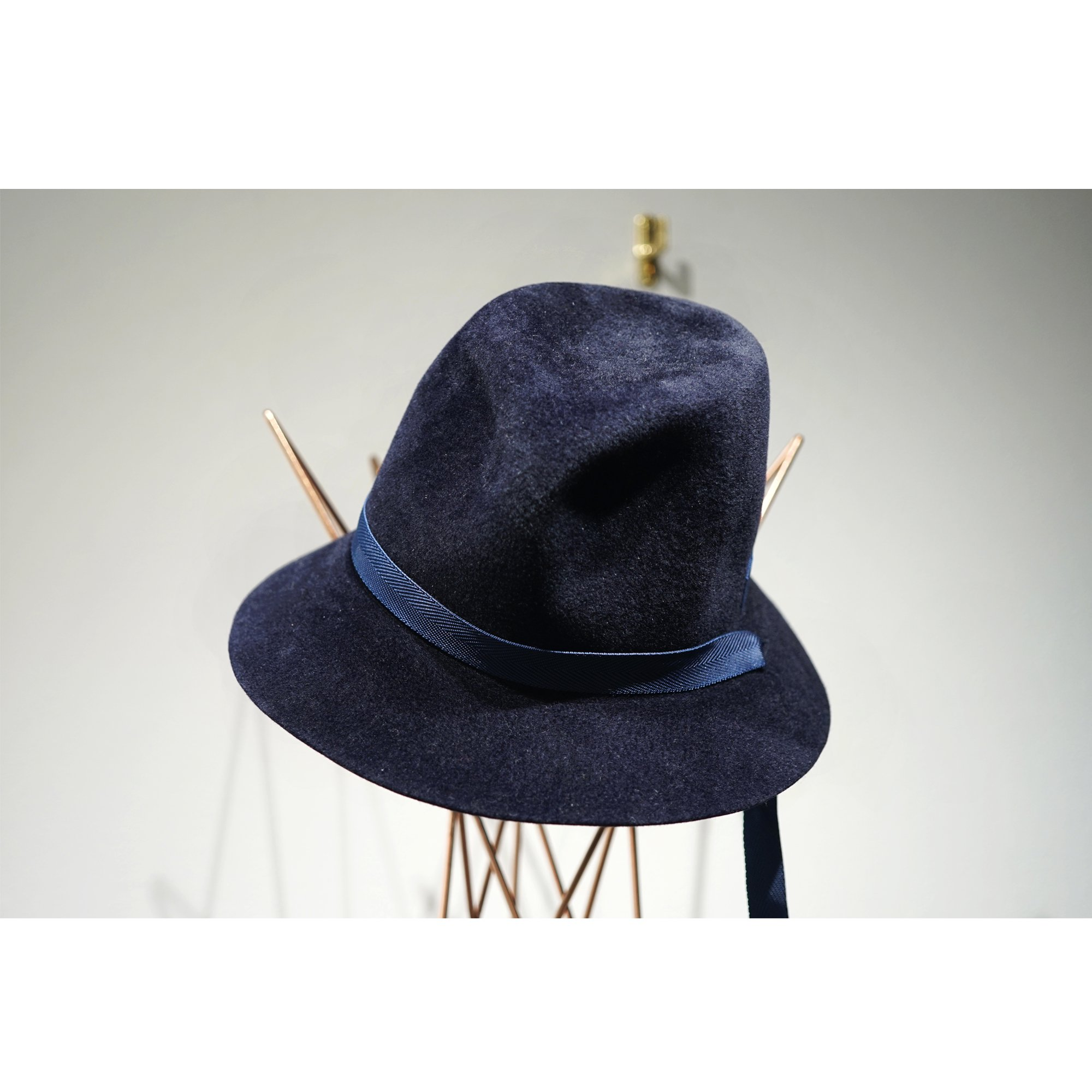 KIJIMA TAKAYUKI-ADJUSTABLE RABITT HAIR FELT HAT NAVY