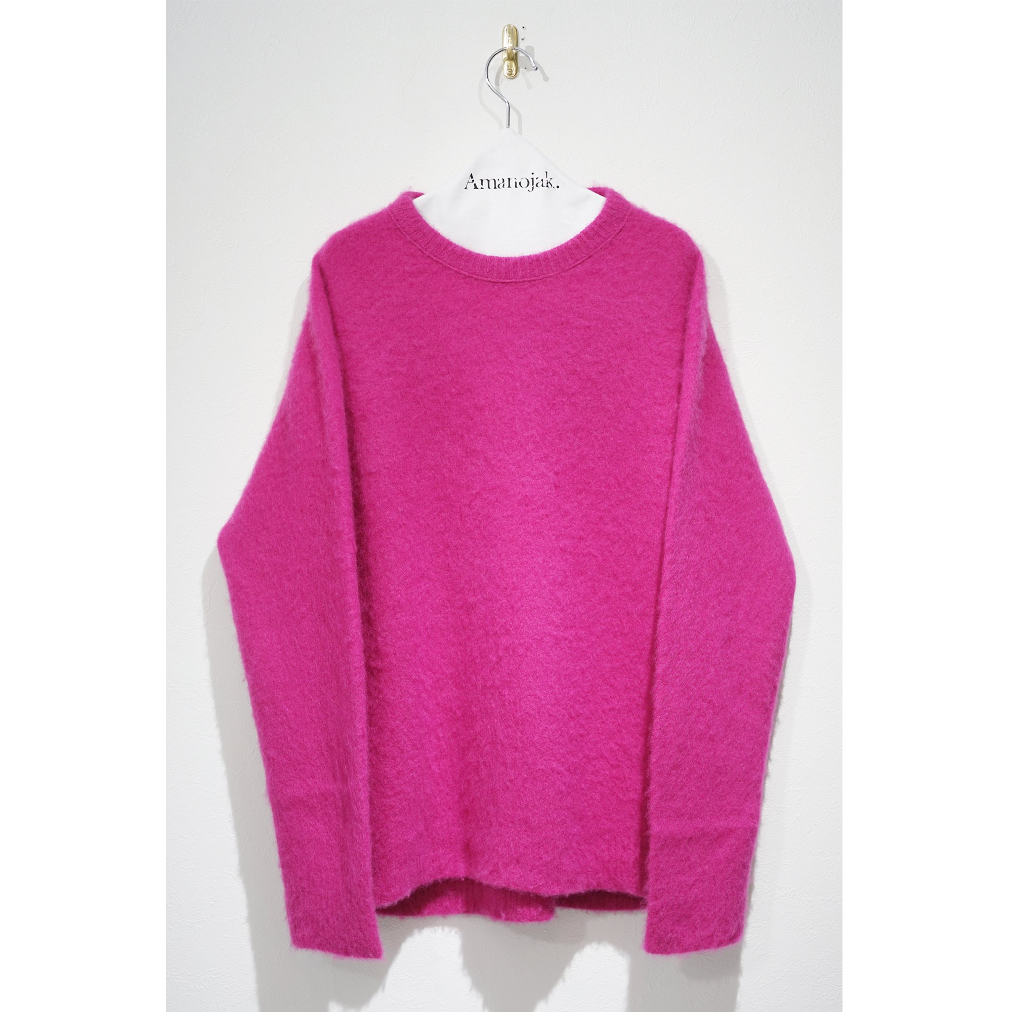 ATON-CASHMERE SHAGGY CREW NECK SWEATER PINK