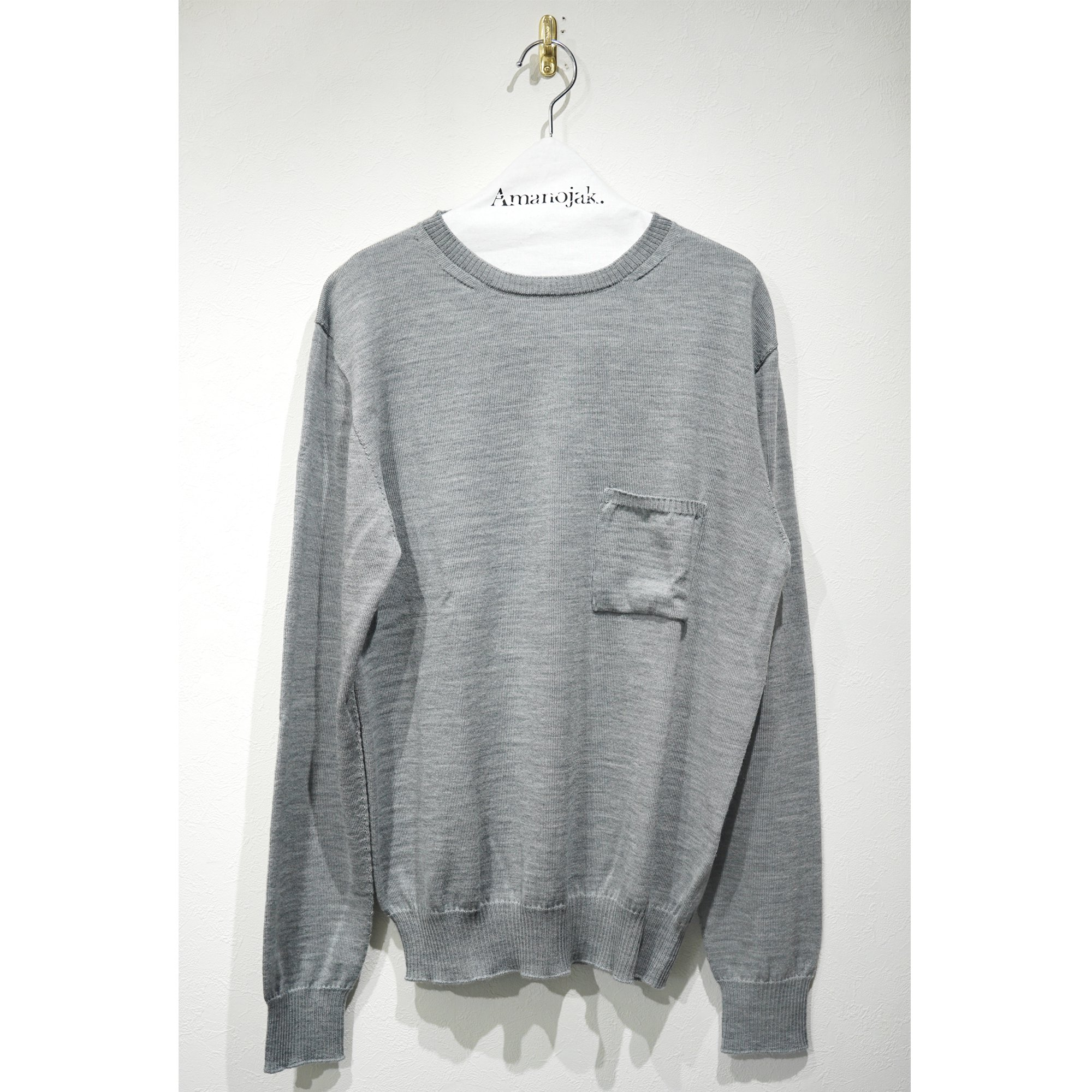 MASTER&Co.-WHOLEGARMENT CREW NECK KNIT LT GRAY