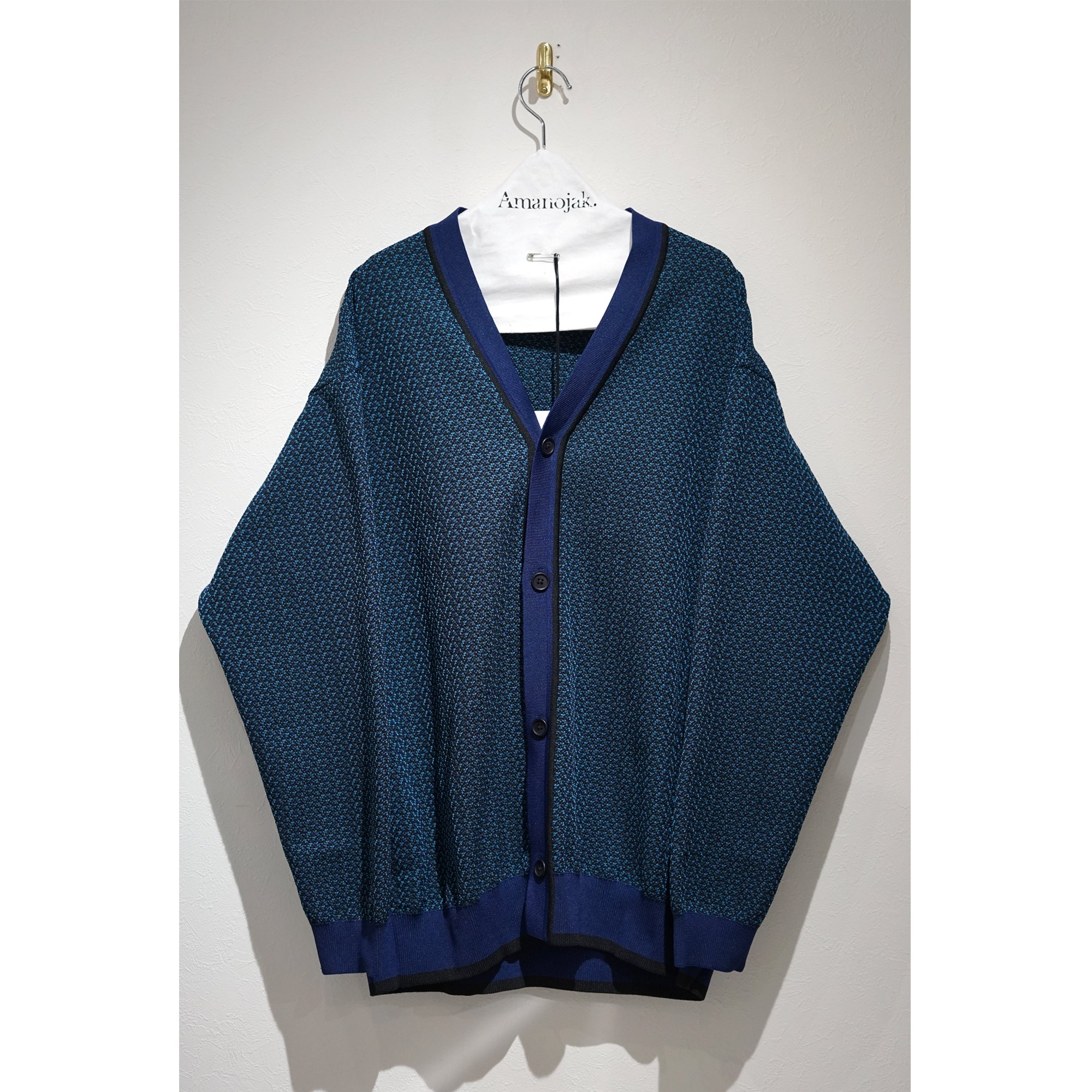 08sircus-POLYESTER JACQUARD KNIT CARDIGAN BLUE