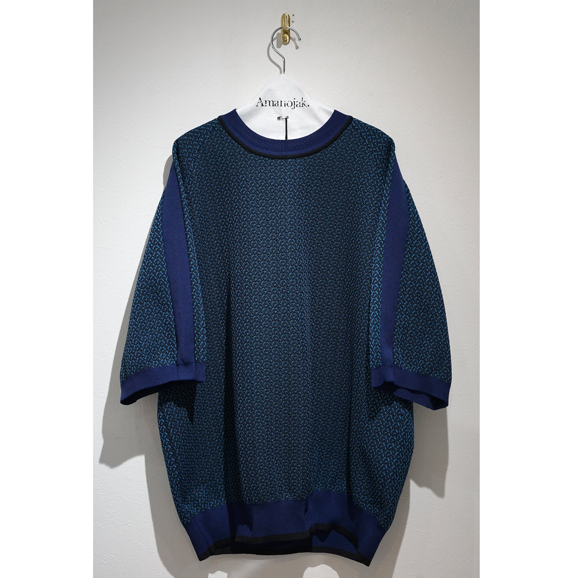 08sircus-POLYESTER JACQUARD KNIT  SHORT SLEEVE BLUE