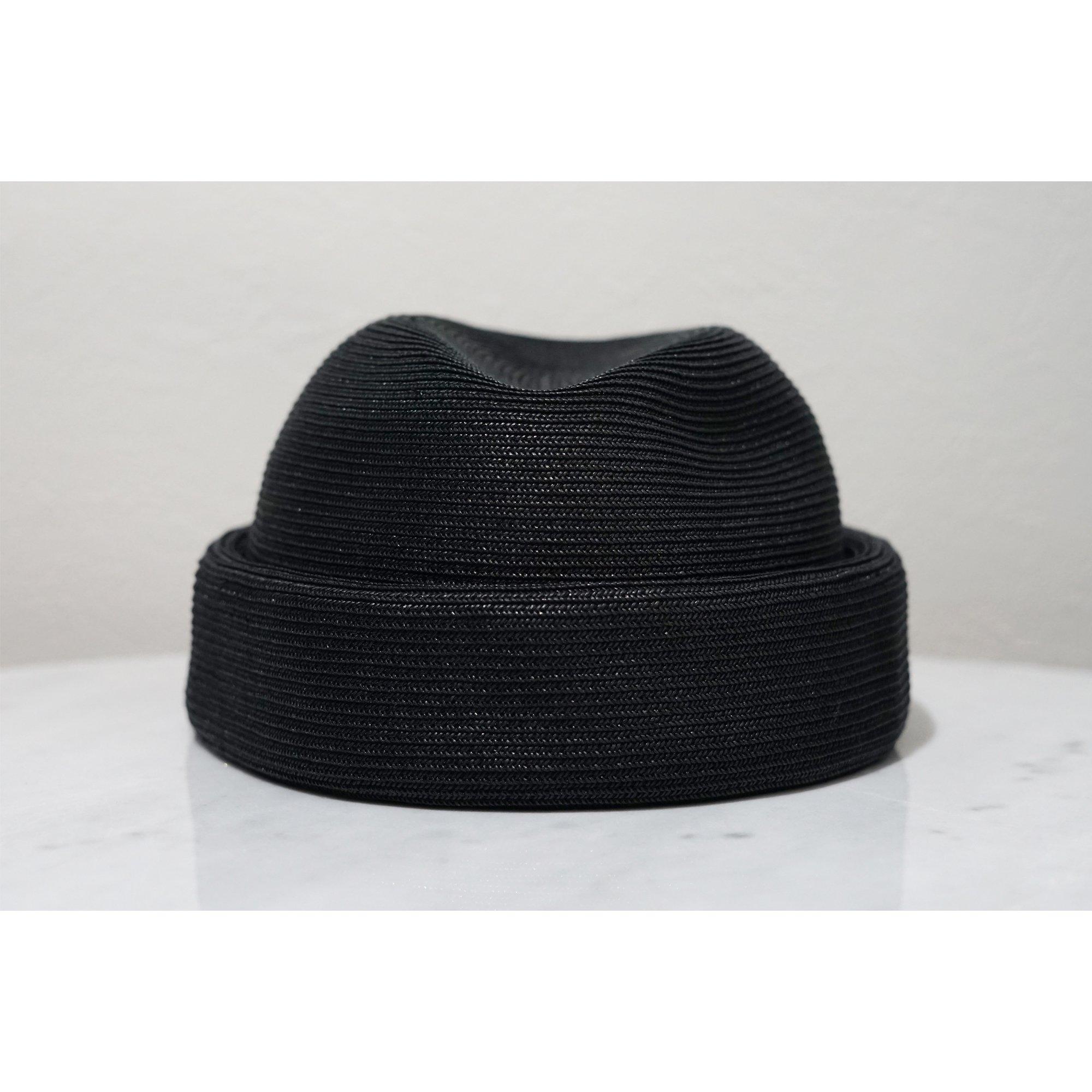 KIJIMA TAKAYUKI-STRAW HAT WITHOUT BRIM BLACK