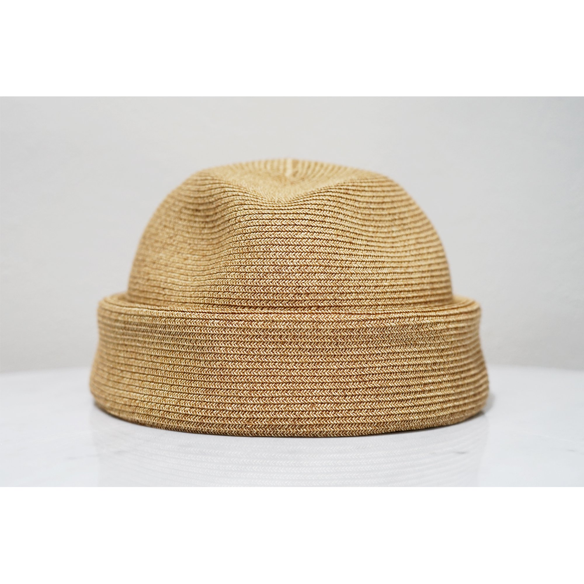 KIJIMA TAKAYUKI-STRAW HAT WITHOUT BRIM LT BROWN
