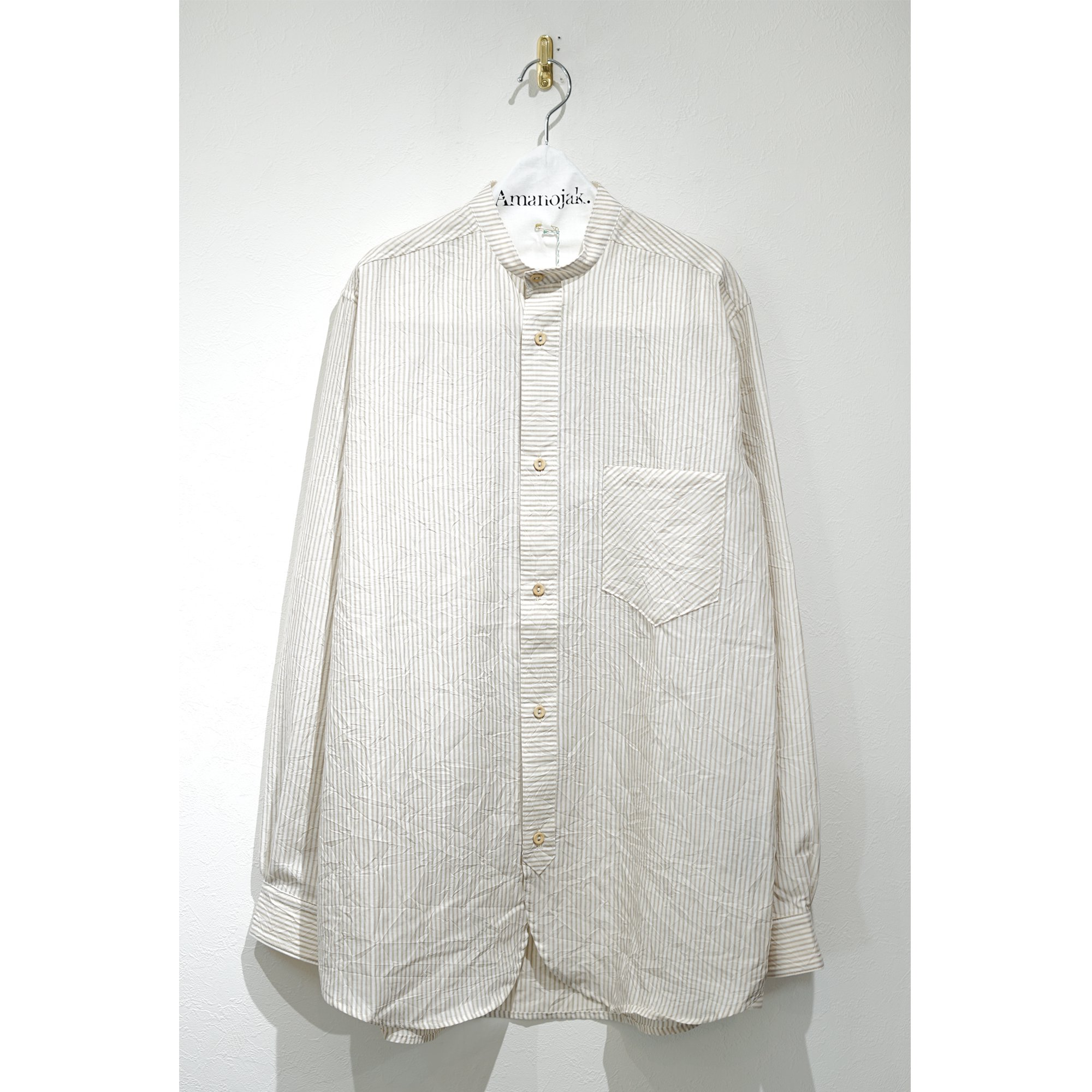FRANK LEDER-CRUSHED COTTON BAND COLLAR SHIRTS