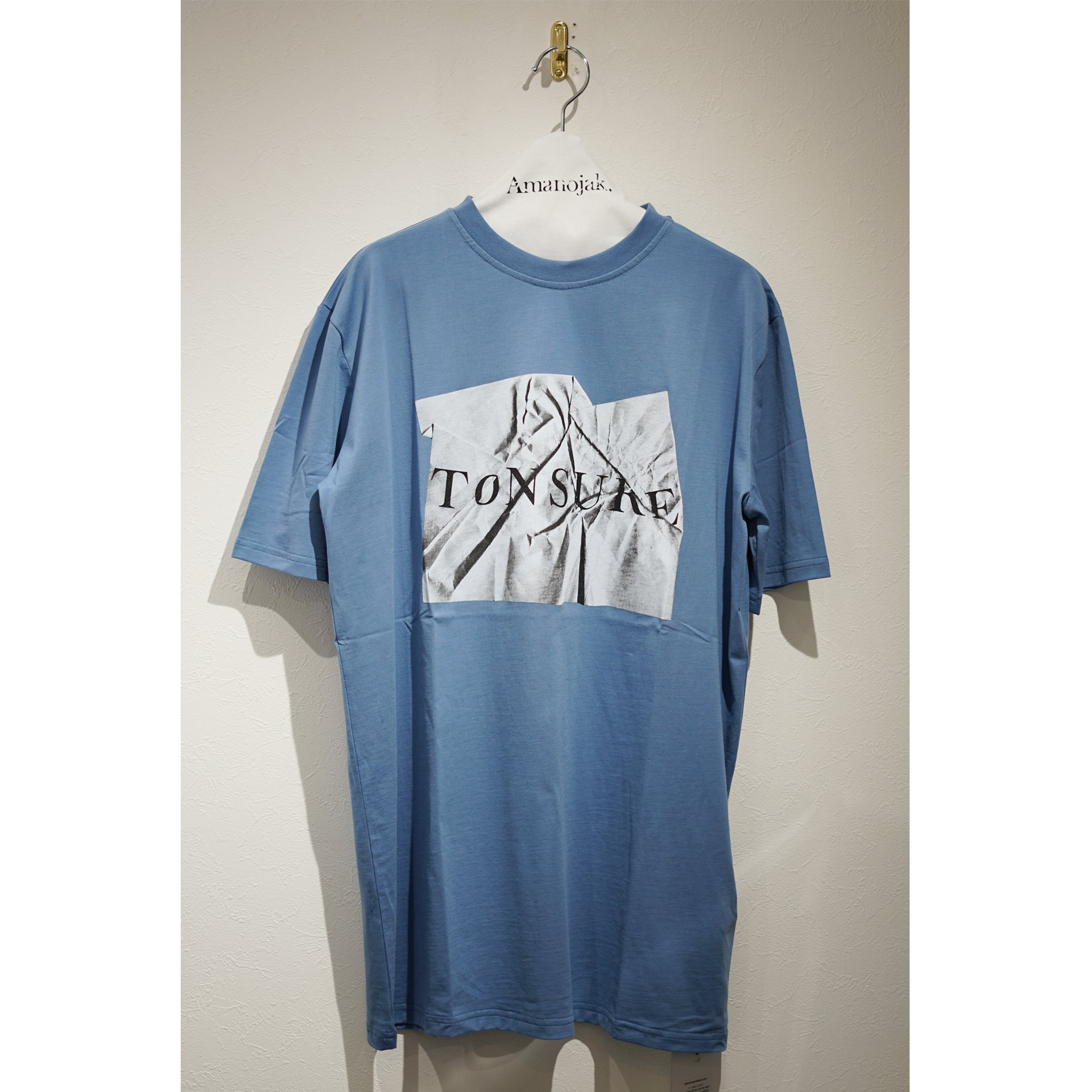 TONSURE-LOGO T-shirts with CRUNCHED A4 LIGHT BLUE