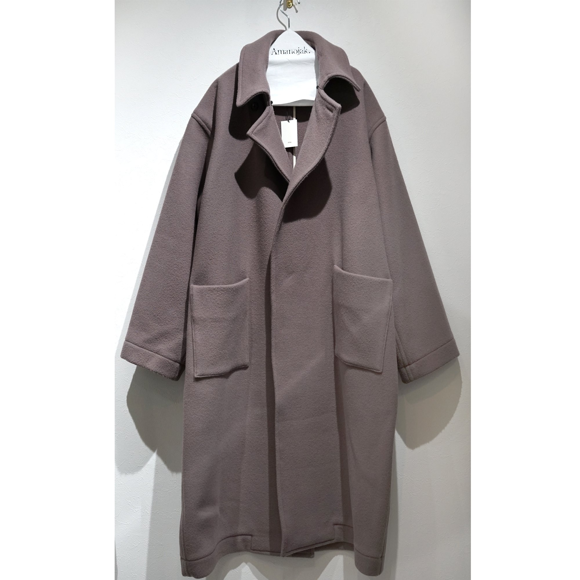 【3/24まで受注受付】ATHA-DOUBLE MELTON MAXI COAT TAN
