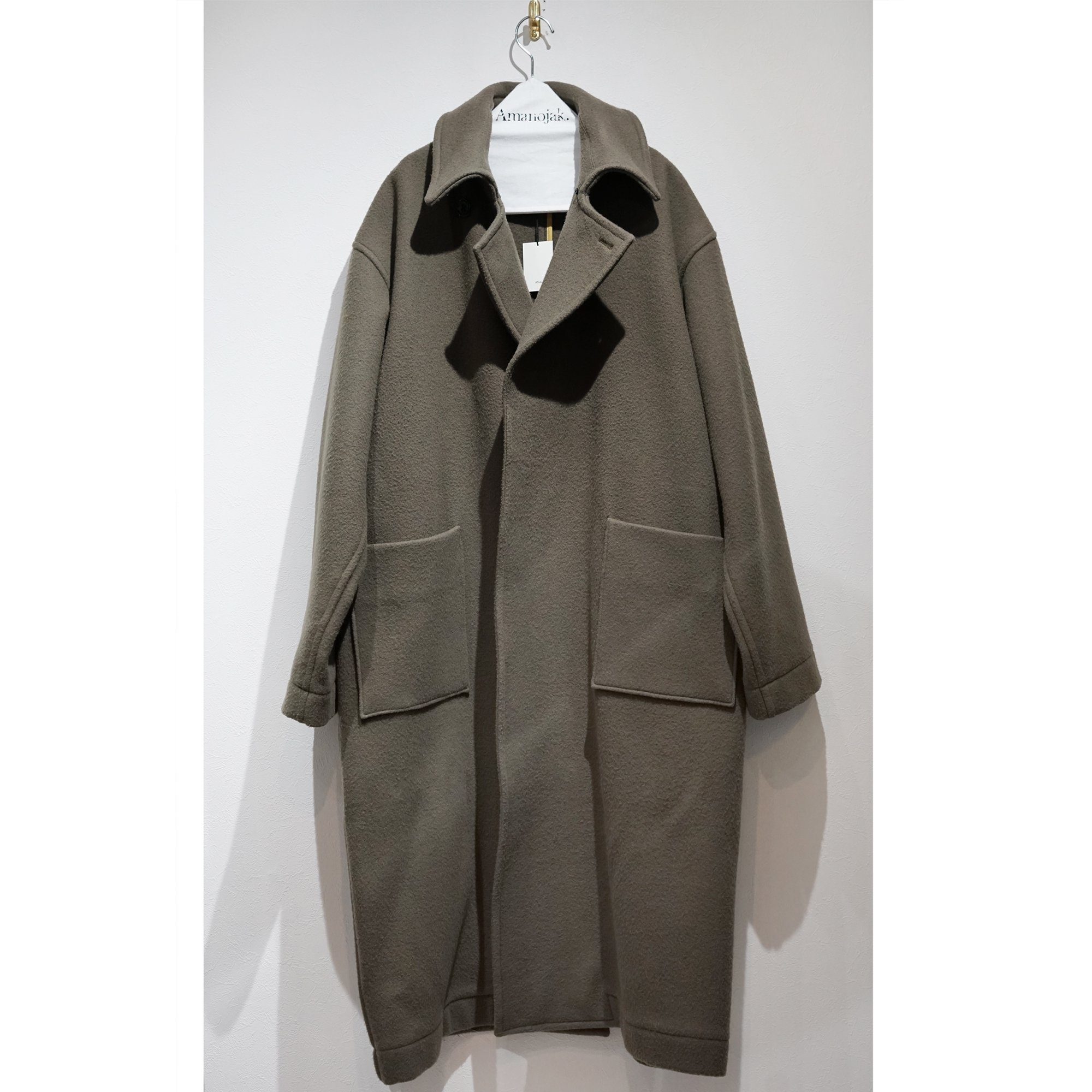 【3/24まで受注受付】ATHA-DOUBLE MELTON MAXI COAT KHAKI