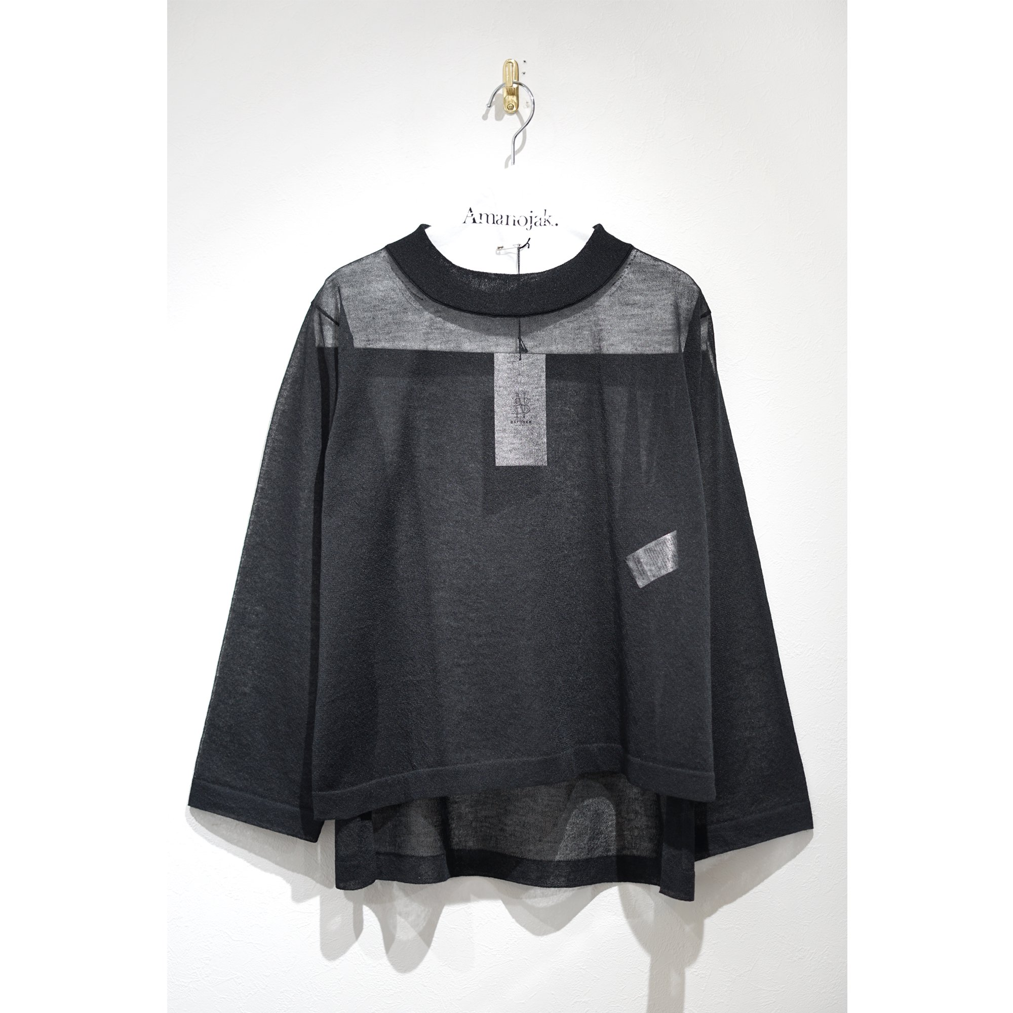 BATONER-SEE THROUGH CREW NECK BLACK