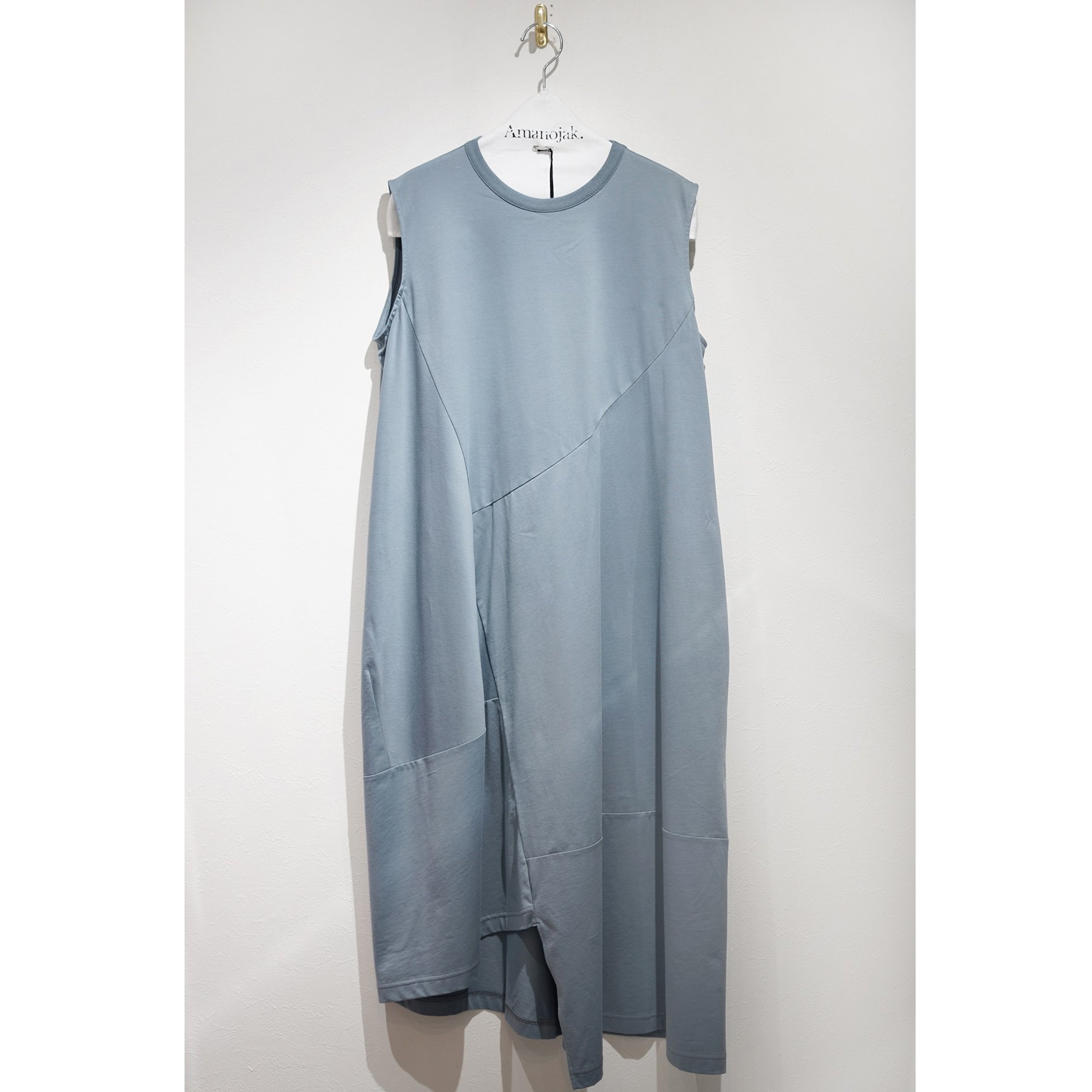 08sircus-CROSS JERSEY SWITCHING DRESS BLUE GRAY